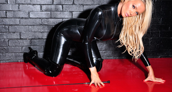 mistress lucy zara in leather catsuit